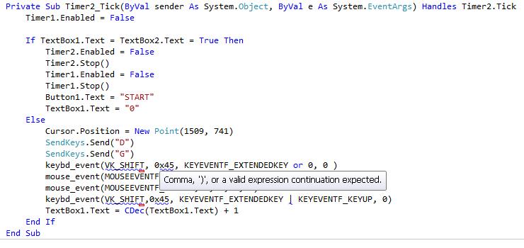 VB NET, Simulate Holding Down Shift Key HELP !!