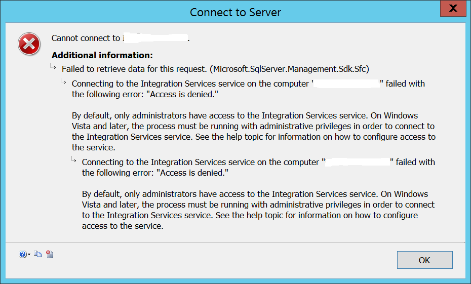 Access denied to Integration Services - SSIS 2014
