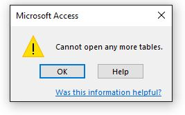 Cant' open any more tables.