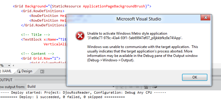 Unable to activate Windows Metro style application