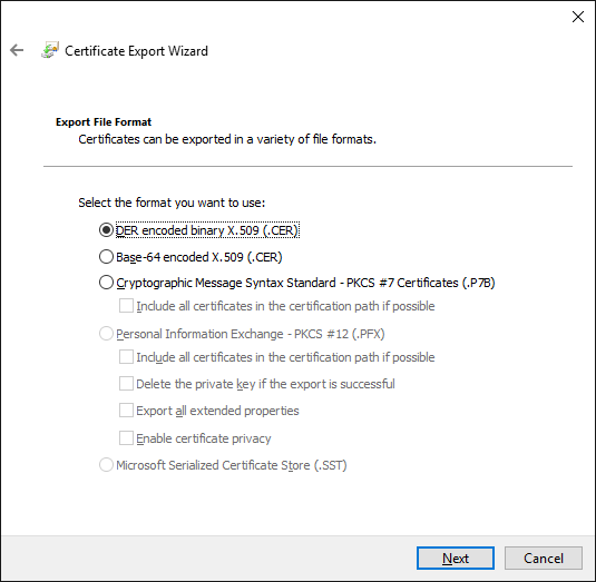 cannot generate export SSL Certificate from Certmgr