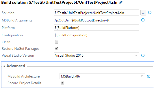 TFS 2015 Visual Studio Build step does not evaluate variables