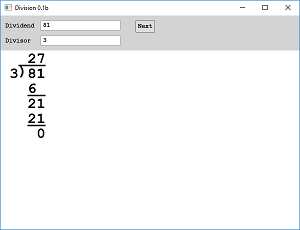 Screen shot of a program Division by Writing 0.1b