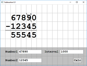 Screen shot of a program Subtraction by Writing 0.1