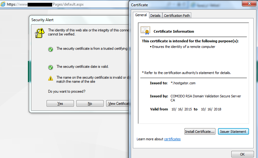 The name on the security certificate is invalid or does not match ...