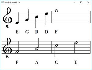 Screen shot of a program Musical Score 0.2b