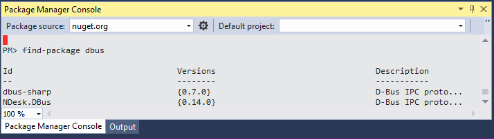 How to install dbus in Visual Studio?