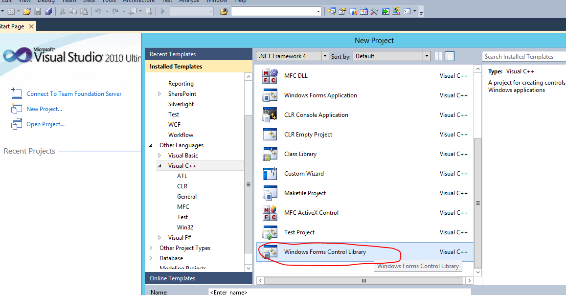 How to create windows control library for visual studio express.