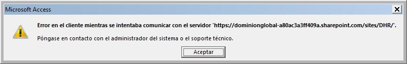 Error connecting to server - customize web app in Access 2016 desktop