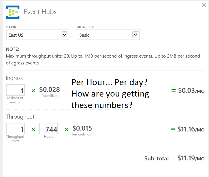 Pricing Questions: Azure Web Calculator Pricing Questions