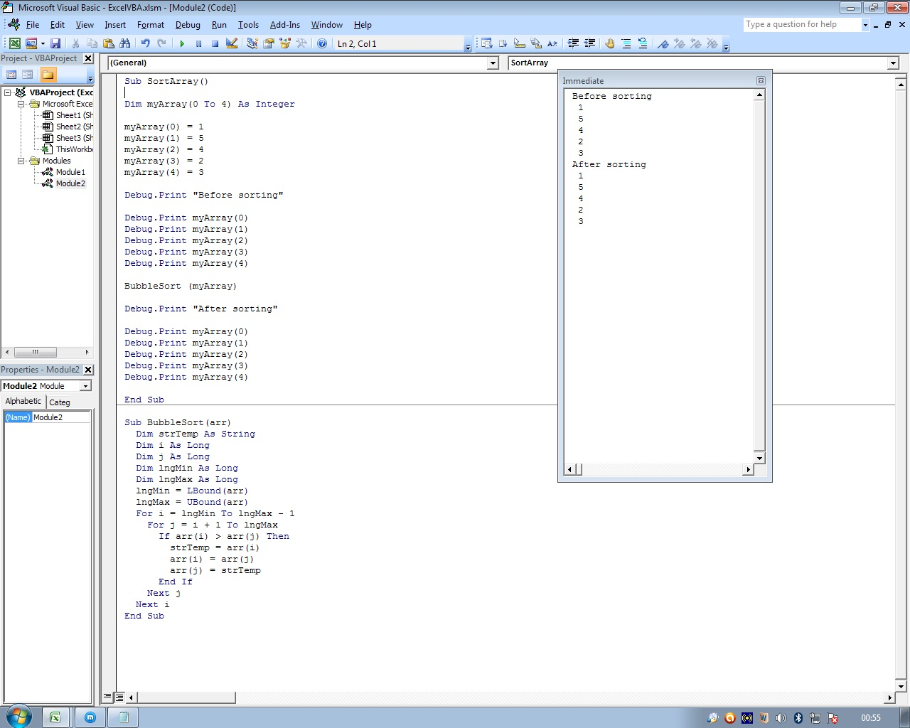 Sorting an array in vba without excel function array was supposed to get sorted but in immediate window i couldnt see desired result immediate window doesnt show any sorting pattern ibookread Download