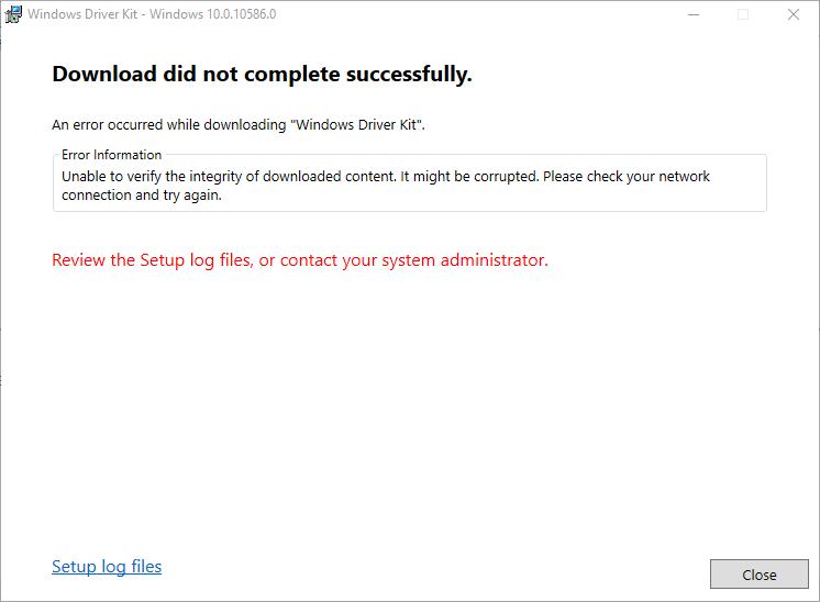 windows 10 version 1511 wdk