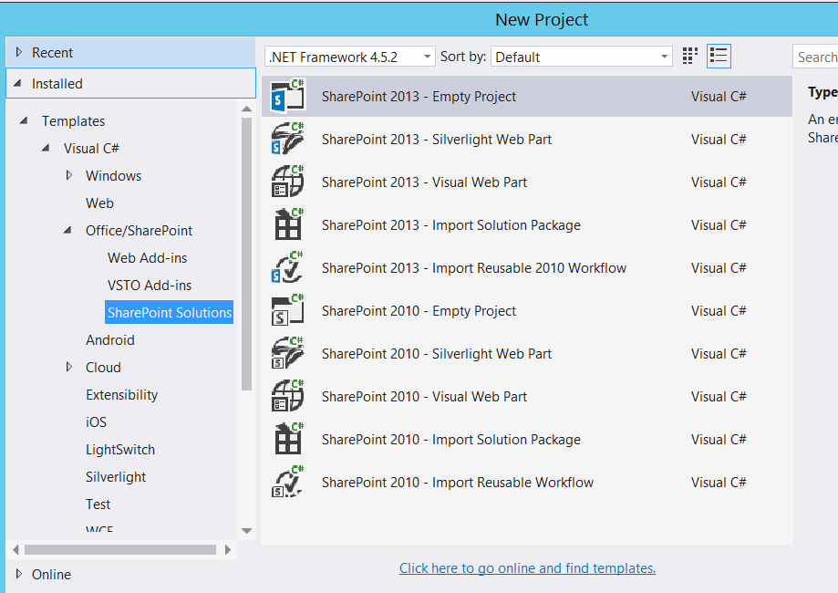 SharePoint 2016 VS2015 Missing Project Templates