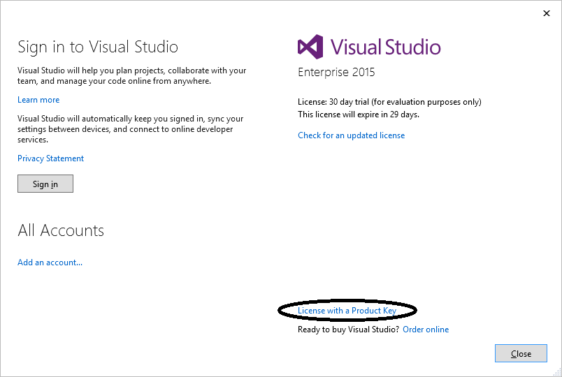 visual studio 2012 activation key