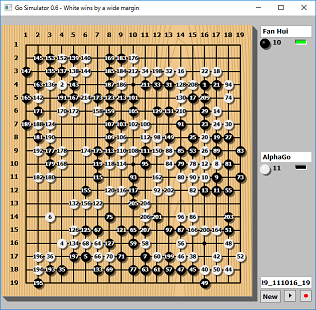 Screen shot of a program Go Simulator 0.6 (kifu between Fan Hui vs AlphaGo)