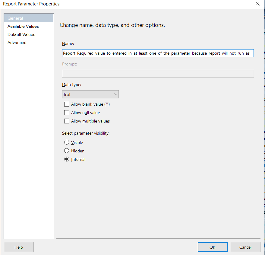 How to Force user to select atleast one parameter in SSRS