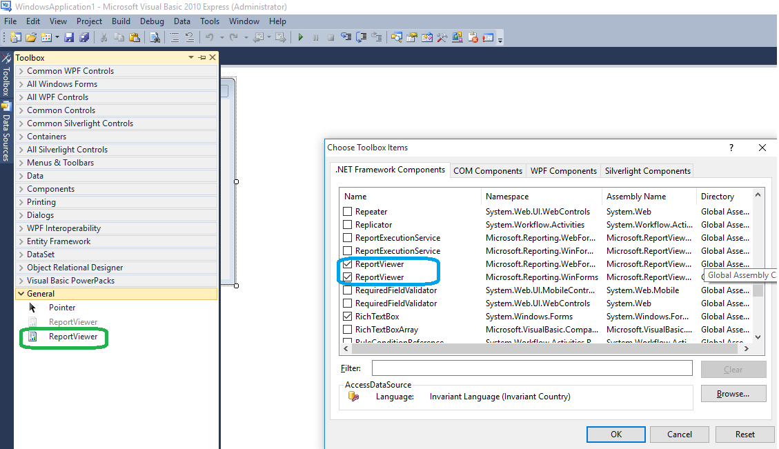 Cannot find the reporting tab in visual basic 2010 toolbox item