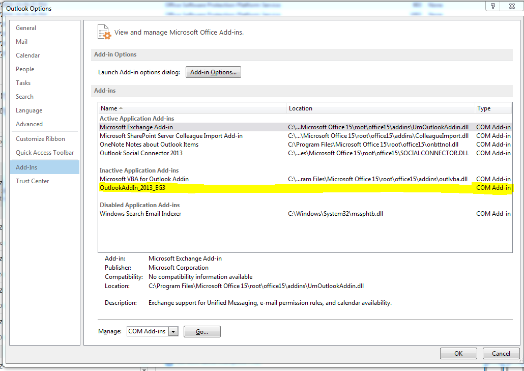 Visual studio add in not loaded for outlook 2013