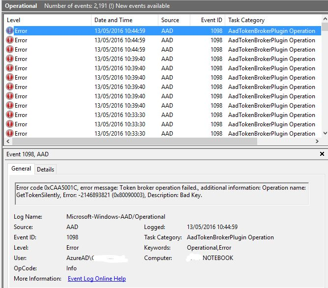 W10-AAD Password Sync Failures - Token Broker Operation Failed