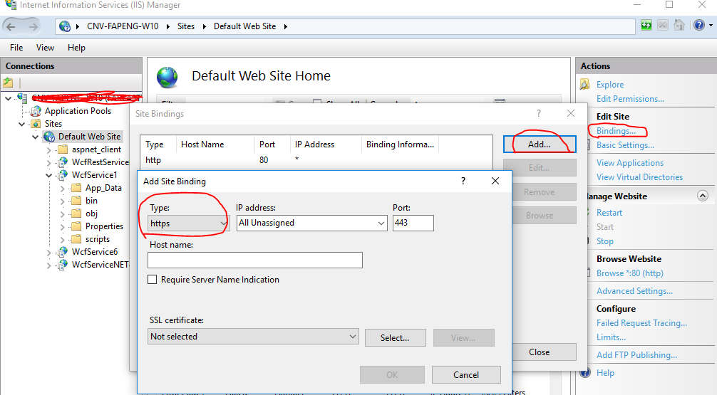 WCF REST service running both HTTP and HTTPS in IIS with