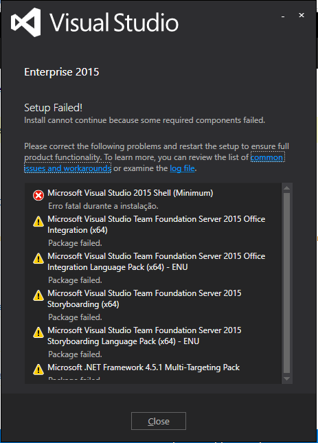 Visual Studio Enterprise 2015 a lot of packages failed