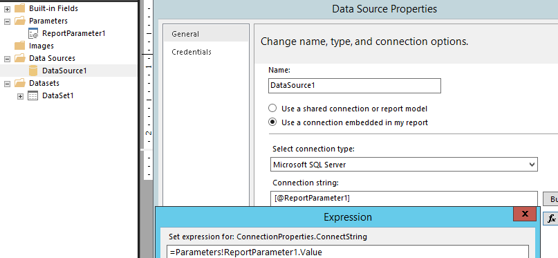 SSRS 2016: dynamic data source using expression-based