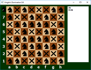 Screen shot of a program Knight's Domination 0.6 (pattern 60739)