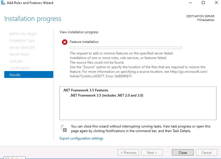 dot net framework 3.5 offline install for windows server 2016