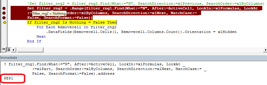 vba assign cell address to variable