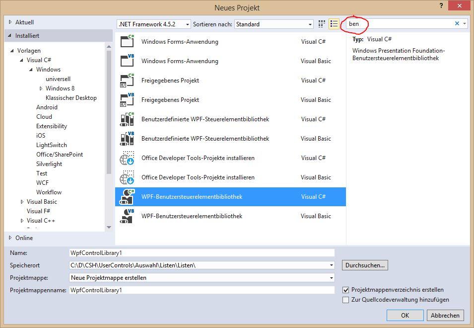 WPF Benutzersteuerelementbibliothek