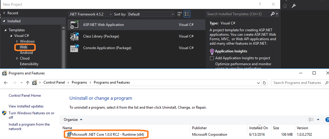 Missing web Templates for C# in Visual Studio 2015