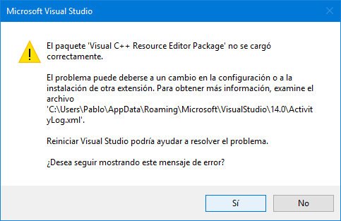 Reiniciar Visual Studio no funciona para nada.