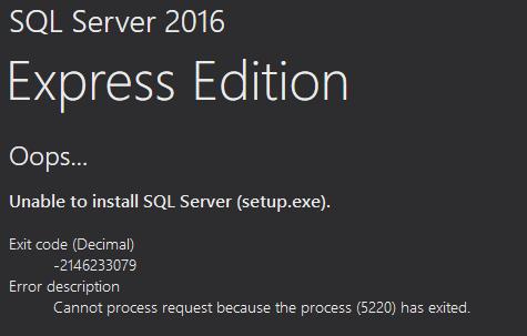SQL Server 2016 Express Install Error