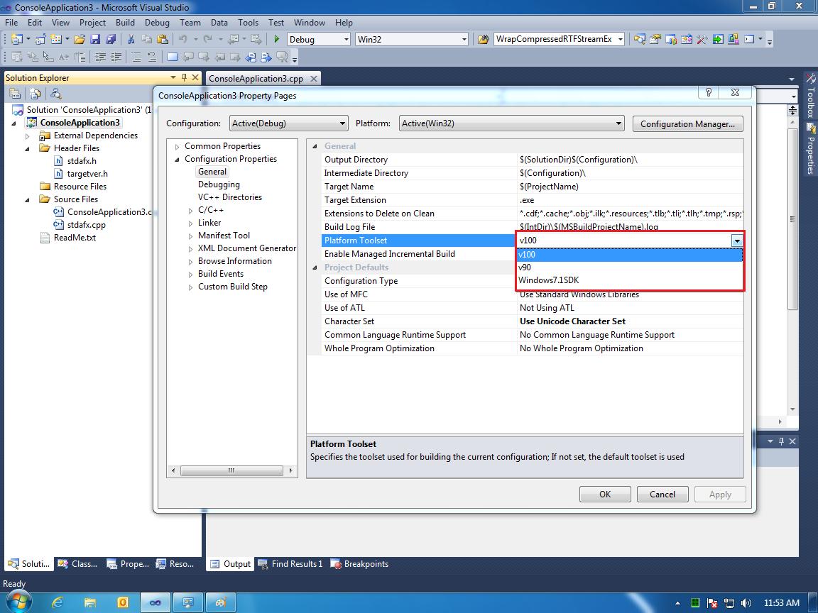 Adding Platform Toolsets to VC++