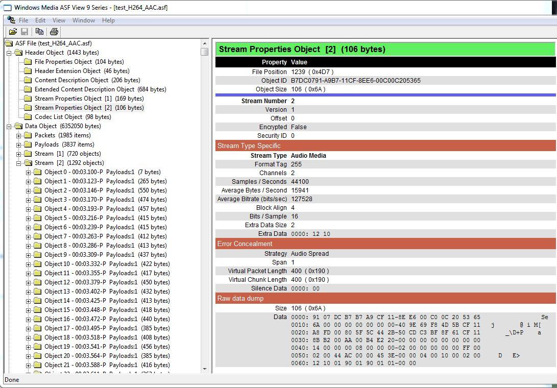 Muxing AAC audio into an ASF file