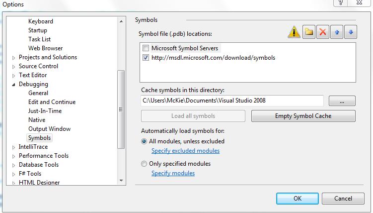 debugging stuck and slow when loading symbols