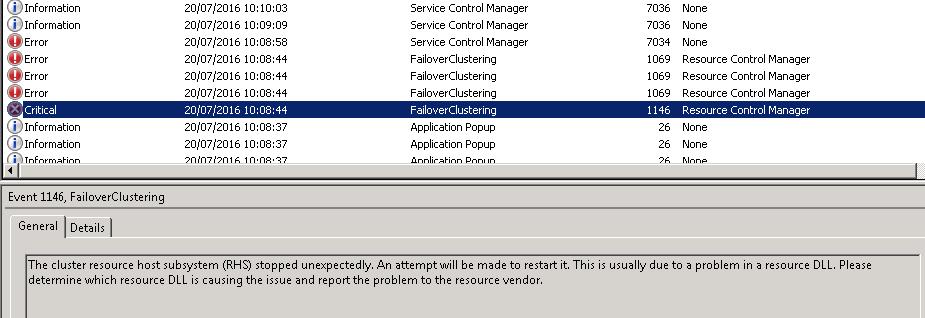 SQL service terminated unexpectedly SQL 2012 Failover Cluster
