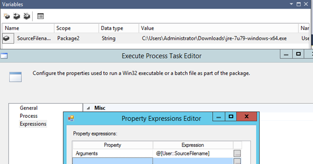 Pass argument in  BAT file from SSIS