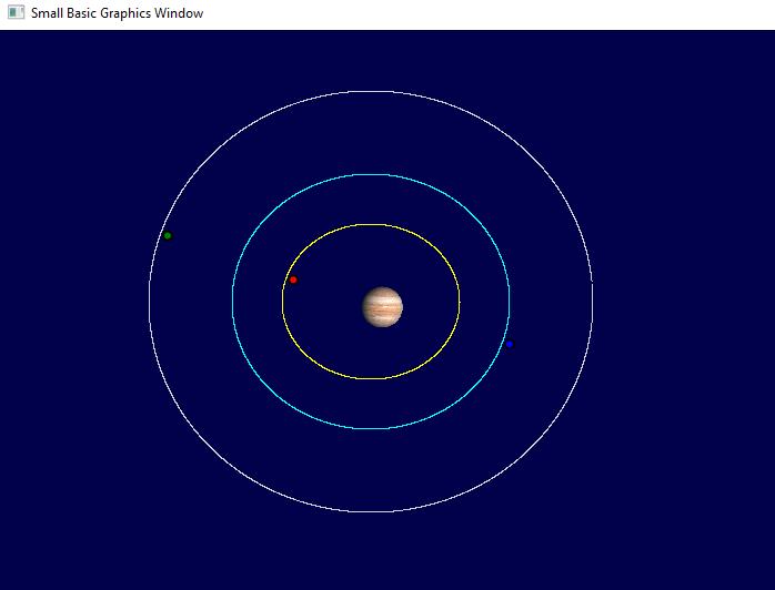 program Jupitter's moons position August 18th 2016