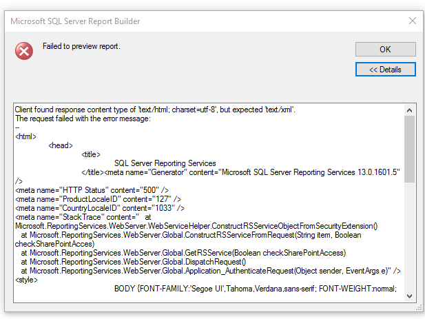 report server mssqlserver cannot load the extension