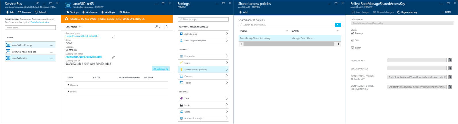 Service Bus Namespace Connection String in New Azure Portal