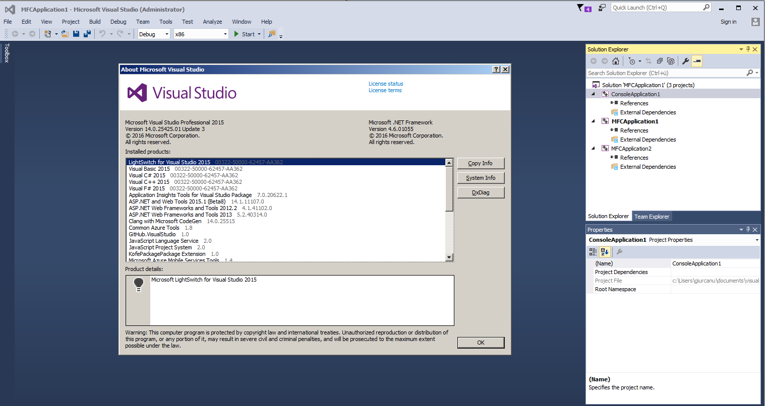 how to create a c++ project in visual studio 2015