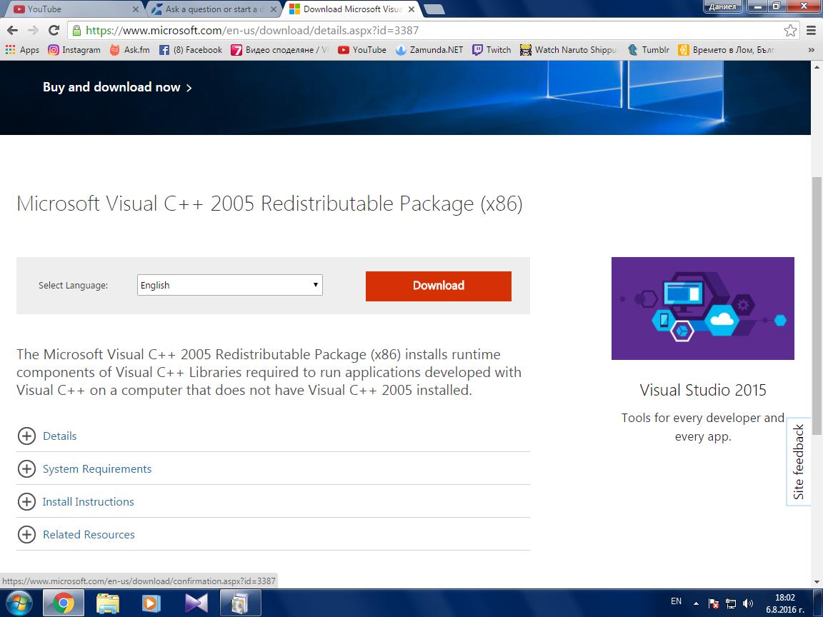 microsoft visual c++ 2005 redistributable package x64 windows 7 download