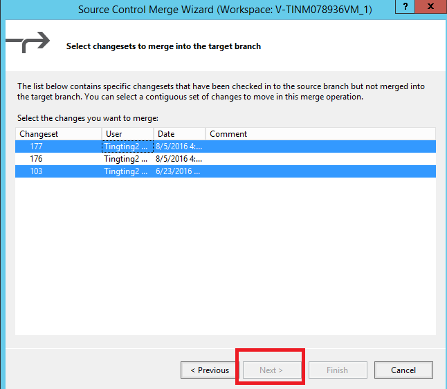 Do we have merge multiple, non-continuous changesets