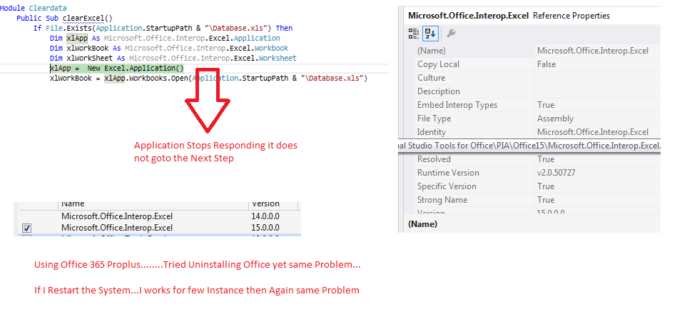 New Excel.Application() Stops Responding and will Freeze.