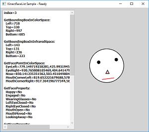 Screen shot of a program KinectFaceList Sample