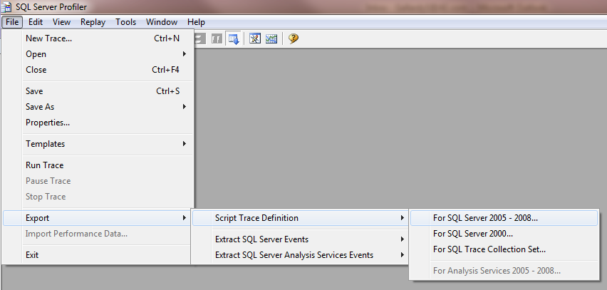 Scripting out the trace definition in profiler
