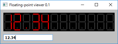 Screen shot of a program Floating-point viewer with segment LED