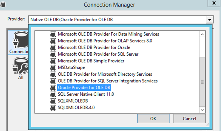 Oracle provider for ole db' is missing.