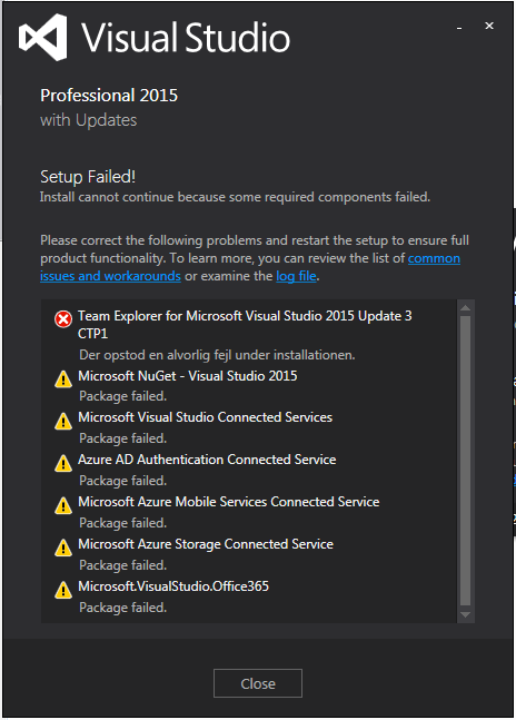 Install/repare problem on Visual Studio 2015 Professional